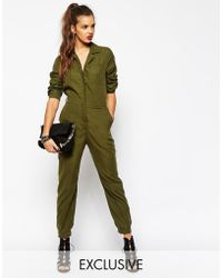 Daisy Street Long Sleeve Utility Boilersuit In Soft Touch Fabric - Natural