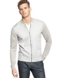 Calvin Klein Mixed Media Zipper Front Shirt - Lyst