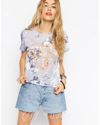 Asos T-Shirt In Floral With La Love Embroidery gray - Lyst