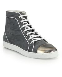 Louis Leeman Croc-Embossed Suede High-Top Sneakers - Lyst