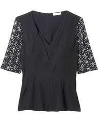 Rebecca Taylor Geo Shimmer Sleeve Top - Lyst