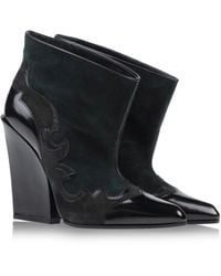 Sergio Rossi Green Ankle Boots - Lyst