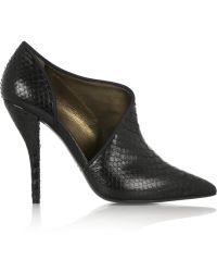 Lanvin Leathertrimmed Python Ankle Boots - Lyst