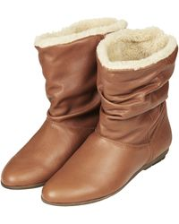 Topshop Womens Arctic Faux Fur Booties Tan - Lyst
