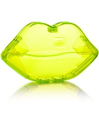 Lulu Guinness Neon Yellow Perspex Lips Clutch - Lyst