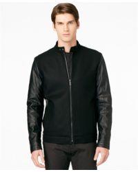 Calvin Klein Mix Media Varsity Slimfit Jacket - Lyst