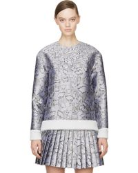 Mary Katrantzou Silver Jacquard Cookie Print Sweater - Lyst