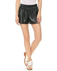Charles Henry Faux Leather Track Shorts Black - Lyst