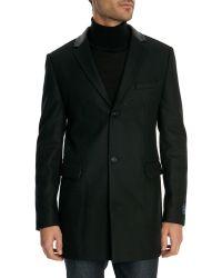 Celio Club Wool Coat With Black Leather Collar - Lyst