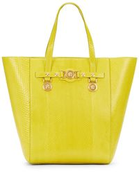 Versace Snake-Embossed Leather Tote - Lyst