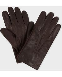 Paul Smith - Men's Brown Deerskin Cashmere Lined Gloves - Lyst