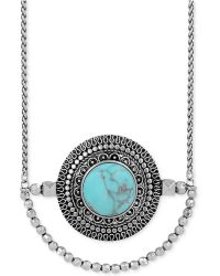 Lucky Brand Silver-Tone Reconstituted Turquoise Pendant Necklace - Lyst