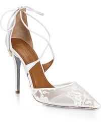 Aquazzura | Matilde Lace & Leather Bridal Pumps | Lyst