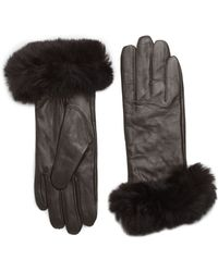 Saks Fifth Avenue Black Fur-Trimmed Leather Gloves - Lyst