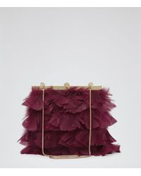 Reiss Grayson Feather Embellished Clutch - Lyst
