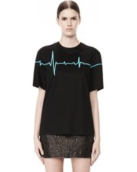 Alexander Wang Crewneck Tee with Bonded Heartbeat Graphic - Lyst