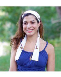 Elizabeth Koh - White Bird Print Headband With Tassels - Lyst