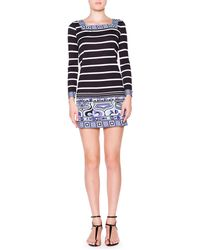 Emilio Pucci Long-Sleeve Striped Square-Border Dress - Lyst