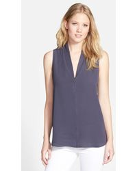 Pleione Layered V-Neck Sleeveless Blouse gray - Lyst