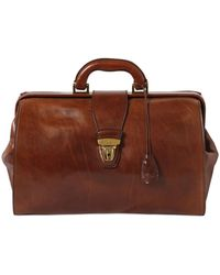 The Bridge Hand-painted Leather Classic Doctor Bag - Brown
