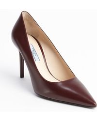 Prada Bordeaux Leather Pointed Toe Pumps - Lyst