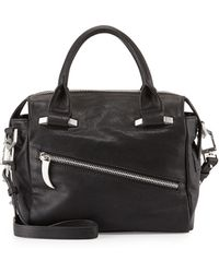 Romy Gold - Diagonal-Zip Leather Satchel Bag - Lyst