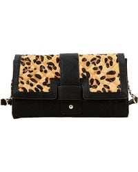 Steven by Steve Madden - Quilted Faux Leather And Calf Hair Flap Clutch - Lyst