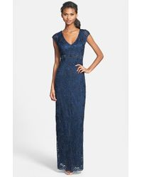 Sue Wong Embellished Illusion Back Gown blue - Lyst