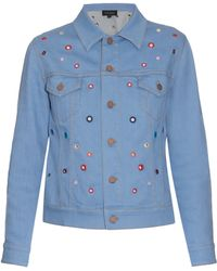 Saloni - Stephanie Eyelet Denim Jacket - Lyst
