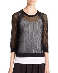 Eileen Fisher Open-Knit Top black - Lyst