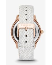 Express - Multi-function Leather Strap Watch - White - Lyst