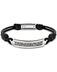 Swarovski Men's Stainless Steel Crystal Acrylic Cord Bracelet - Black