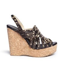 Jimmy Choo 'Perdita' Lizard Effect Leather Wedge Sandals brown - Lyst