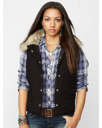 Denim & Supply Ralph Lauren Faux-fur-trimmed Down Vest - Lyst