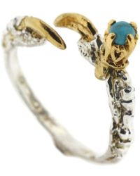 Tessa Metcalfe Single Claw Ring With Turquoise - Blue