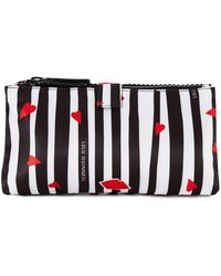 Lulu Guinness - Cut Out Lips Stripe Double Make Up Bag - Lyst