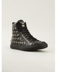 Versace Studded Hitop Sneakers - Lyst