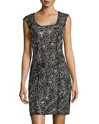 Sue Wong Cap-sleeve Embroidered Sheath Dress - Lyst