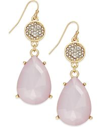 Inc International Concepts Gold-Tone Pink Stone Pavé Double Drop Earrings - Lyst