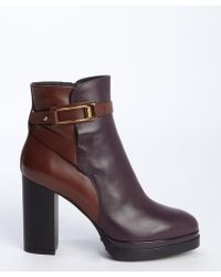 Tod's Raspberry And Brown Leather Heeled Platform Ankle Boots - Lyst