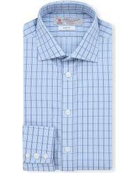 Turnbull & Asser Micro-checked Slim-fit Single-cuff Shirt - Lyst