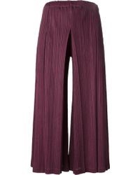 Pleats Please Issey Miyake Cropped Pleated Trousers - Lyst