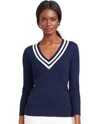 Lauren by Ralph Lauren Cable-Knit V-Neck Sweater - Lyst