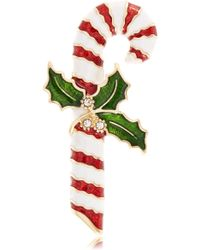 R.j. Graziano Candy Cane Brooch - Green