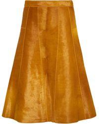 Derek Lam Paneled A-line Calfhair Skirt - Lyst
