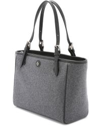 Tory Burch York Flannel Small Buckle Tote - Dark Gray