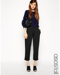 Asos Tall Premium Bonded Tapered Pants In Scuba - Lyst