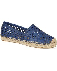 Tory Burch Lattice Perforated Espadrilles - For Women, Navy Blue - Lyst