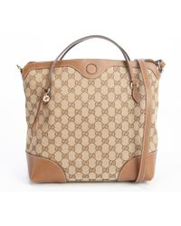 Gucci Beige and Brown Gg Coated Canvas Bree Top Handle Bag - Lyst
