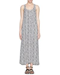 Theory 'Coruna' Botanical Print Button Front Maxi Dress gray - Lyst